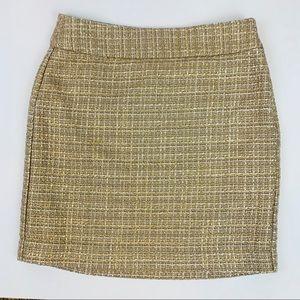 Banana Republic Gold Tweed Mini Skirt 0